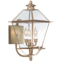 Montgomery 3 Light 20 inch Natural Aged Brass Outdoor Wall Lantern in Clear