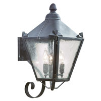 Preston 3 Light 20 inch Charred Iron Outdoor Wall Lantern in Clear Seeded
