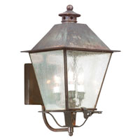 Montgomery 3 Light 20 inch Natural Rust Outdoor Wall Lantern in Clear Seeded
