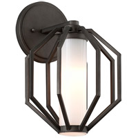 Troy Lighting Boundary - Outdoor LED Outdoor Wall Light - 9 inch - Textured Graphite Finish - Gloss Opal Glass Shad BL4981