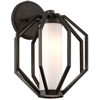 Troy Lighting Boundary - Outdoor LED Outdoor Wall Light - 11 inch - Textured Graphite Finish - Gloss Opal Glass BL4982