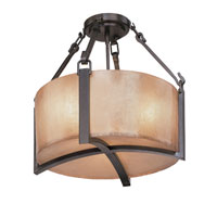Austin 3 Light 18 inch Antique Bronze Semi-Flush Ceiling Light in Incandescent