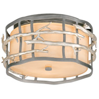 Adirondack 2 Light 13 inch Graphite And Silver Flush Mount Ceiling Light in Incandescent