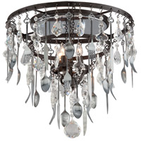 Troy Lighting Bistro 4 Light Semi Flush in Graphite with Antique Pewter C3800