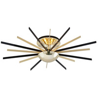 Troy Lighting Atomic Semi Flush in Polished Brass with Matte Black C4252