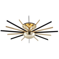 Troy Lighting C4253 Atomic LED 36 inch Polished Brass with Matte Black Semi Flush Ceiling Light