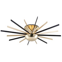 Troy Lighting C4254 Atomic LED 48 inch Polished Brass with Matte Black Semi Flush Ceiling Light
