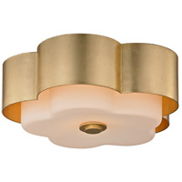 Troy Lighting C5651 Allure 2 Light 14 inch Gold Leaf Flush Mount Ceiling Light, Opal White Glass