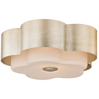 Allure 2 Light 14 inch Silver Leaf Flush Mount Ceiling Light, Opal White Glass