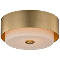 Allure 2 Light 13 inch Gold Leaf Flush Mount Ceiling Light, Opal White Glass