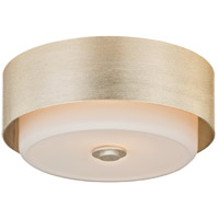 Allure 2 Light 13 inch Silver Leaf Flush Mount Ceiling Light, Opal White Glass