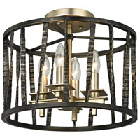 Bastille 4 Light 14 inch Pompeii Silver and Silver Leaf Semi-Flush Mount Ceiling Light