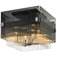 Apollo 4 Light 15 inch Dark Bronze and Polished Chrome Semi-Flush Mount Ceiling Light, Smoked and Clear Glass