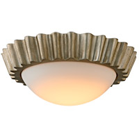 Reese LED 13 inch Silver Leaf Flush Mount Ceiling Light, Frosted Opal Glass