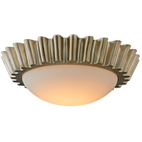 Reese LED 16 inch Silver Leaf Flush Mount Ceiling Light, Frosted Opal Glass