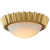 Reese LED 13 inch Gold Leaf Flush Mount Ceiling Light, Frosted Opal Glass