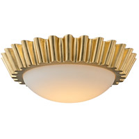 Reese LED 16 inch Gold Leaf Flush Mount Ceiling Light, Frosted Opal Glass