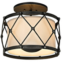 Palisade 3 Light 14 inch Aged Pewter Semi-Flush Mount Ceiling Light, Linen Hardback Shade