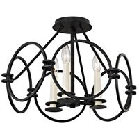 Juliette 3 Light 19 inch Country Iron Semi-Flush Mount Ceiling Light