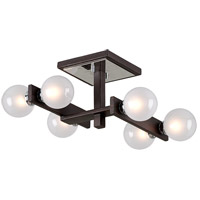 Network 6 Light 19 inch Forest Bronze and Polished Chrome Semi-Flush Mount Ceiling Light, Frosted Clear Glass