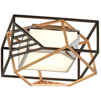 Troy Lighting C6080 Cubist LED 18 inch Bronze and Gold Leaf and Polished Stainless Flush Mount Ceiling Light, White Acrylic Shade