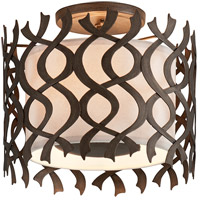 Mai Tai 3 Light 14 inch Cottage Bronze Semi-Flush Mount Ceiling Light, Linen Hardback Shade