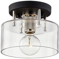 Troy Lighting C7550 Bergamot Station 1 Light 9 inch Carbide Black and Polished Nickel Semi Flush Ceiling Light