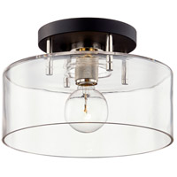 Troy Lighting C7551 Bergamot Station 1 Light 12 inch Carbide Black and Polished Nickel Semi Flush Ceiling Light