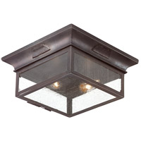 Newton 2 Light 13 inch Old Bronze Outdoor Flush Mount in Incandescent