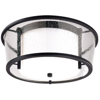Bennington LED 15 inch Forged Bronze Flush Mount Ceiling Light, Matte Opal and Seeded Clear Glass