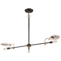 Dinner Date 2 Light 42 inch Dark Bronze with Antique Brass Pendant Ceiling Light