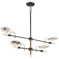 Dinner Date 4 Light 42 inch Dark Bronze with Antique Brass Pendant Ceiling Light
