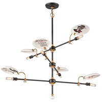 Troy Lighting Dinner Date 6 Light Pendant in Dark Bronze with Antique Brass F4696