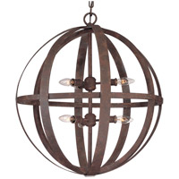 Troy Lighting Flatiron 6 Light Pendant in Weathered Iron F2516WI