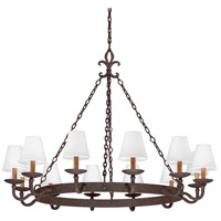 Lyon 12 Light 48 inch Burnt Sienna Chandelier Ceiling Light
