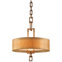 Link 3 Light 22 inch Bronze Leaf Pendant Ceiling Light in Incandescent