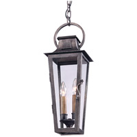 French Quarter 2 Light 7 inch Aged Pewter Outdoor Hanging Lantern in Incandescent