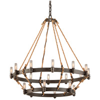 Troy Lighting F3128 Pike Place 18 Light 32 inch Shipyard Bronze Pendant Ceiling Light