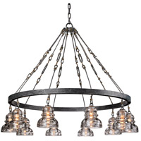 Troy Lighting Menlo Park 10 Light Pendant in Old Silver F3137