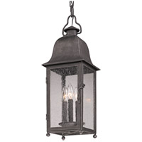 Larchmont 3 Light 8 inch Aged Pewter Outdoor Hanging Lantern in Incandescent