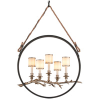 Drift 5 Light 12 inch Bronze With Silver Leaf Pendant Ceiling Light