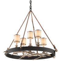 Drift 5 Light 29 inch Bronze With Silver Leaf Pendant Ceiling Light