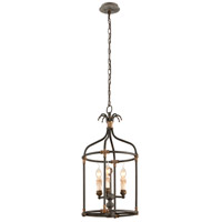 Surrey 3 Light 14 inch Distressed Black With Antique Gold Accents Pendant Ceiling Light