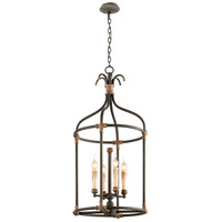 Troy Lighting Surrey 4 Light Pendant in Distressed Black With Antique Gold Accents F3526