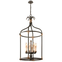 Troy Lighting Surrey 8 Light Pendant in Distressed Black With Antique Gold Accents F3527
