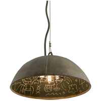 Troy Lighting Relativity 3 Light Pendant in Salvage Zinc With Chalkboard Interior F3653