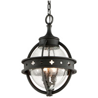 Troy Lighting Mendocino 3 Light Outdoor Hanging Lantern in Forged Black F3686