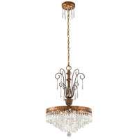 Le Marais 5 Light 18 inch Marais Gold Leaf with Distressed Wood Chandelier Ceiling Light