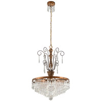 Le Marais 6 Light 25 inch Marais Gold Leaf with Distressed Wood Chandelier Ceiling Light