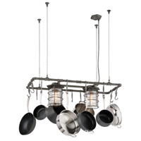 Brunswick 2 Light 44 inch Aged Pewter Island Pot Rack Ceiling Light